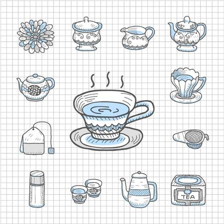tea set: Spotless Series   Hand drawn Teatime,tee  icon set
