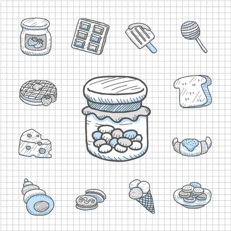 Spotless Series   Hand drawn Snack,food  icon set Vector