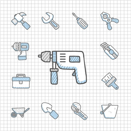adjustable wrench: Spotless Series   Hand drawn Tool  icon set Illustration