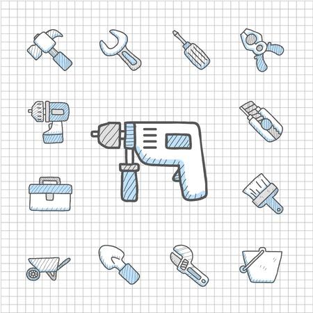 adjustable: Spotless Series   Hand drawn Tool  icon set Illustration