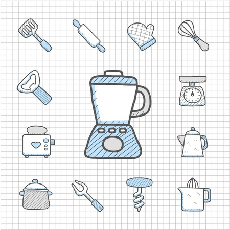Spotless Series   Hand drawn kitchenware  icon set Vector