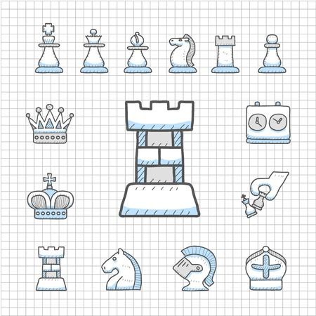 Impecable Serie - Dibujado a mano conjunto de iconos de Ajedrez