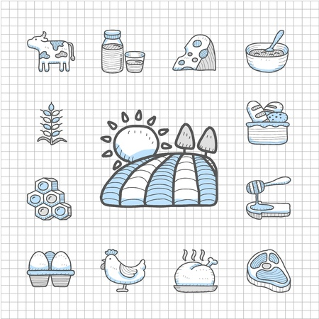 spotless: Spotless Series - Hand drawn Dairy , Natural Product icon set