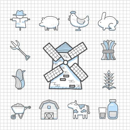 bála: Egy makulátlan Series - Kézzel rajzolt farm icon set