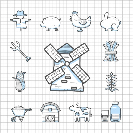 Spotless Series - Hand drawn farm icon set Vector