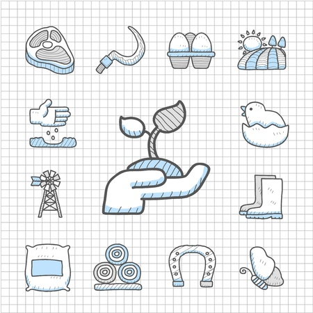 Spotless Series -Hand drawn farm icon set Vector