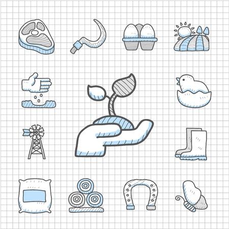Spotless Series -Hand drawn farm icon set Vector