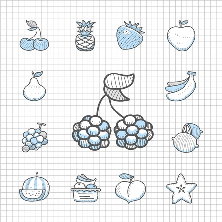 spotless: Spotless Series - Hand drawn Fruit,food icon set Illustration