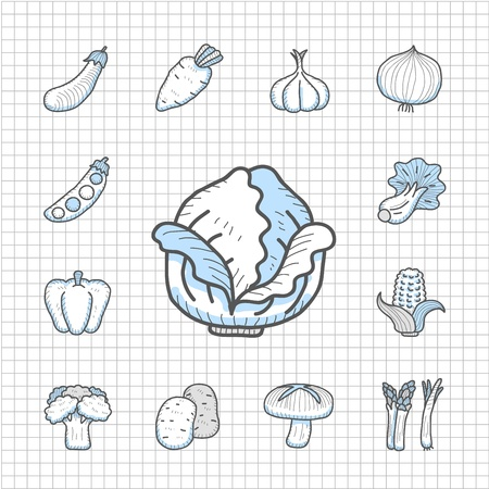 grapes and mushrooms: Spotless Series - Hand drawn Vegetables,food icon set Illustration