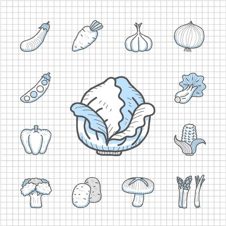 food icon set: Spotless Series - Hand drawn Vegetables,food icon set Illustration