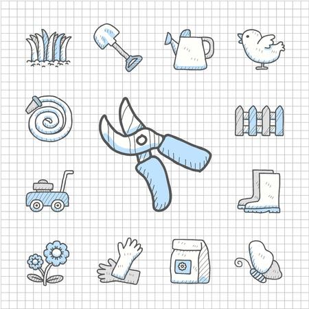 Spotless Series - Hand drawn Garden icon set Vector
