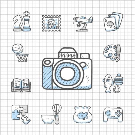model fish: Spotless Series - Hand drawn Hobby icon set Illustration