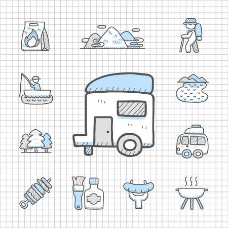 spotless: Spotless Series - Hand drawn travel,picnic ,camping icon set Illustration