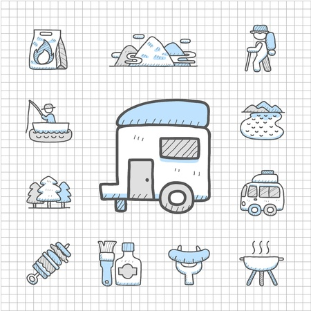 Spotless Series - Hand getrokken reizen, picknick, camping icon set