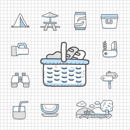 Spotless Series - Hand drawn travel,picnic ,camping icon set 일러스트