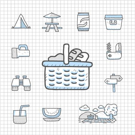 picnic basket: Spotless Series - Hand drawn travel,picnic ,camping icon set Illustration