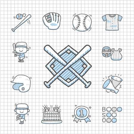 Spotless series   Hand drawn Baseball icon set Vector