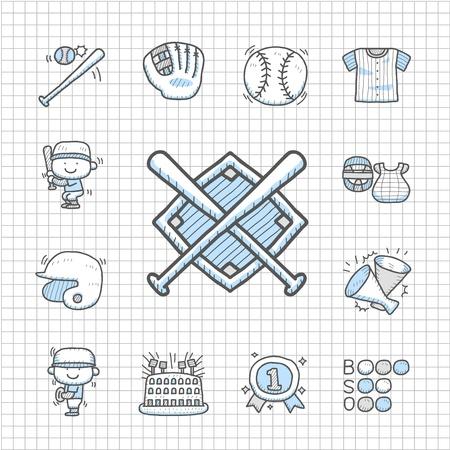 Spotless series   Hand drawn Baseball icon set Vector