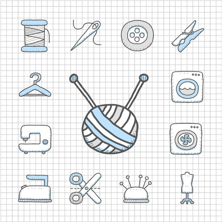 Spotless series Hand drawn Sewing icon set
