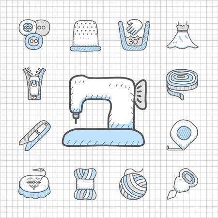 maquinas de coser: Impecable serie dibujada a mano de coser icono de conjunto
