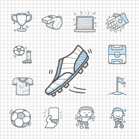 Spotless series   Hand drawn Soccer icon set Vector