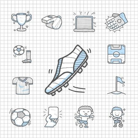 soccer net: Spotless series   Hand drawn Soccer icon set Illustration