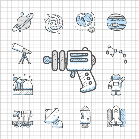 Spotless series   Hand drawn Space icon set Vector