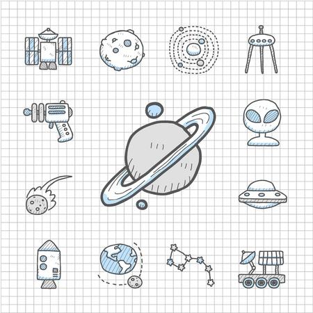 radar gun: Mano serie Spotless elaborado set Space icono
