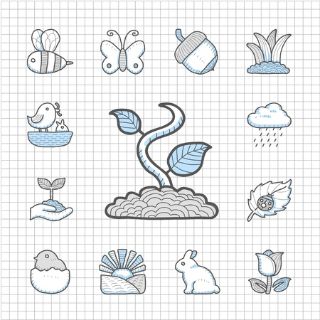 Spotless series   Hand drawn Springr icon set Vector