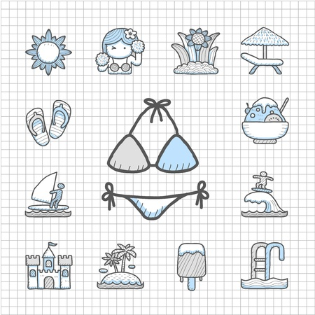 spotless: Spotless series   Hand drawn Summer icon set Illustration