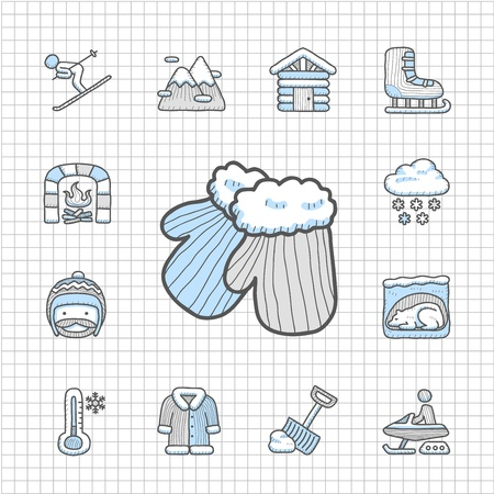 Spotless series   Hand drawn Winter icon set Vector