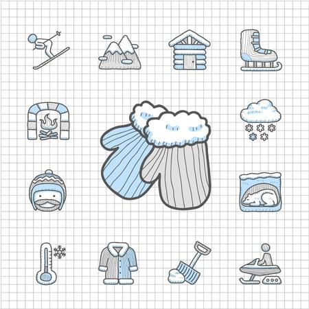 spotless: Spotless series   Hand drawn Winter icon set Illustration