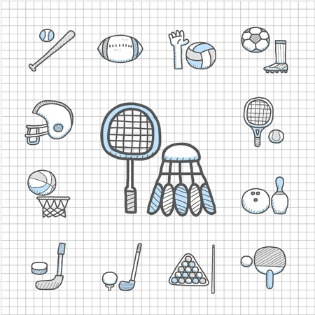 Spotless series   hand drawn sport icon set Stock Vector - 14593603