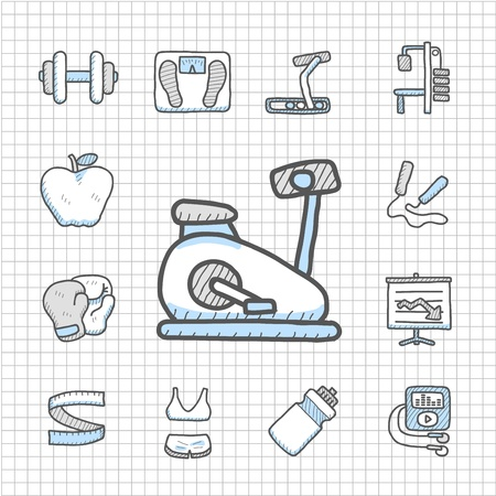 Spotless serie hand getekend fitness icon set
