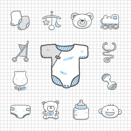 spotless: Spotless Series   Hand drawn baby icon set Illustration