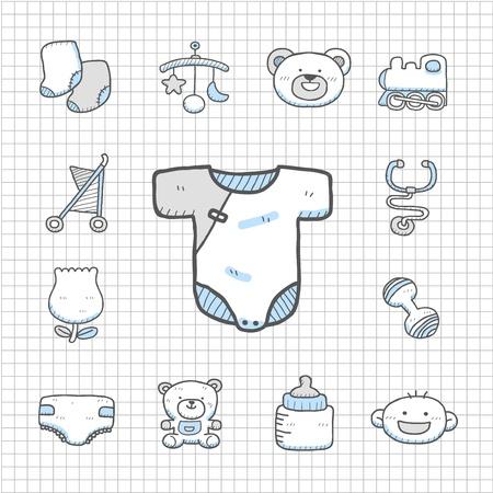 Spotless Series Hand drawn baby icon set