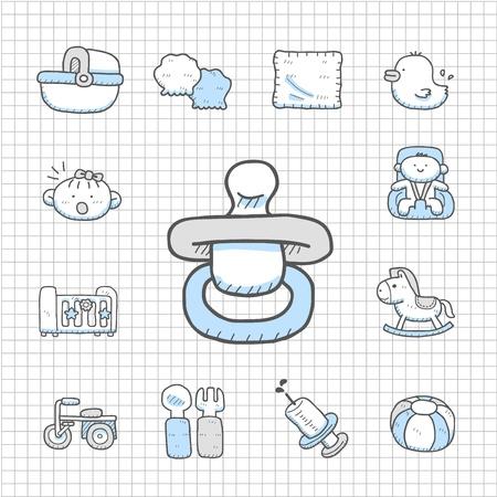 babero: Mano de la serie impecable elaborado conjunto icono de bebé Vectores