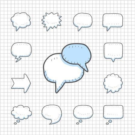 Spotless Serie Hand getrokken Speech, Thought Bubbles icon set
