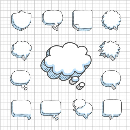 Spotless Series   Hand drawn Speech ,Thought Bubbles icon set Illustration