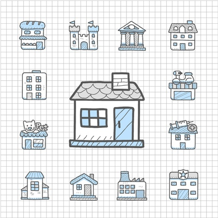 Spotless Series   Hand drawn building icon set Vector