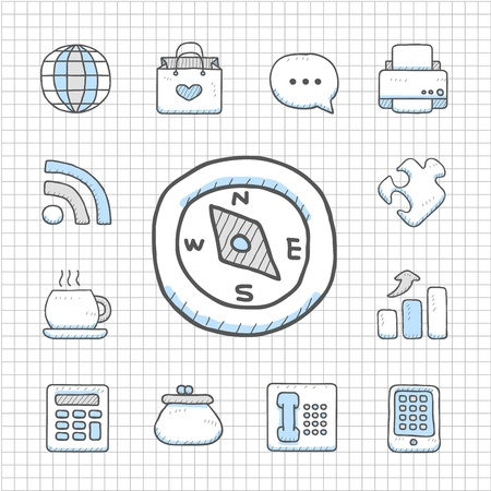 Spotless Series   Hand drawn business icon set Vector