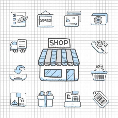Spotless serie Getrokken winkelen icon set Stock Illustratie