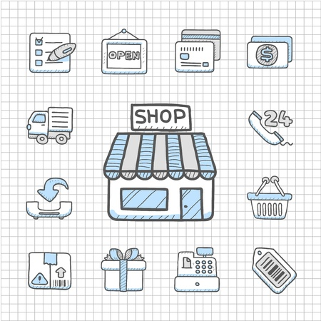 Spotless Series   Hand drawn shopping icon set Vector