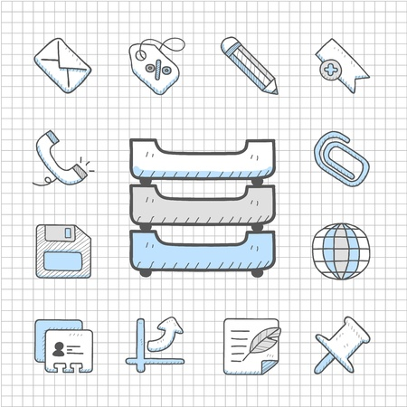 filing cabinet: Spotless Series   Hand drawn business icon set