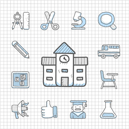 Spotless Series   Hand drawn education,school icon set Stock Vector - 14764026
