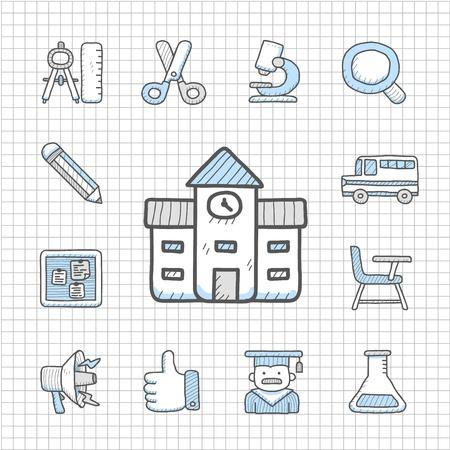 Spotless Series   Hand drawn education,school icon set Stock Vector - 14764026