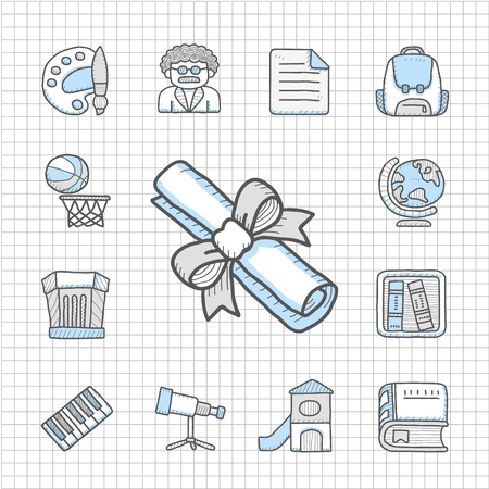 Spotless Series   Hand drawn education,school icon set Stock Vector - 14764043