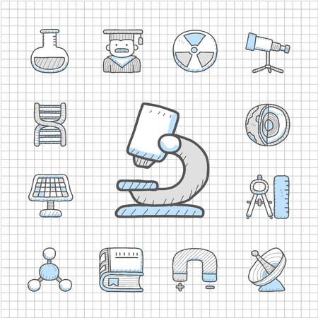 Spotless Series   Hand drawn Science icon set Vector