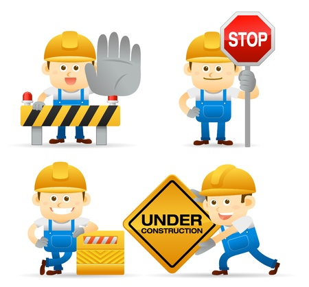 under construction sign with man: Elegant People Series   builder set