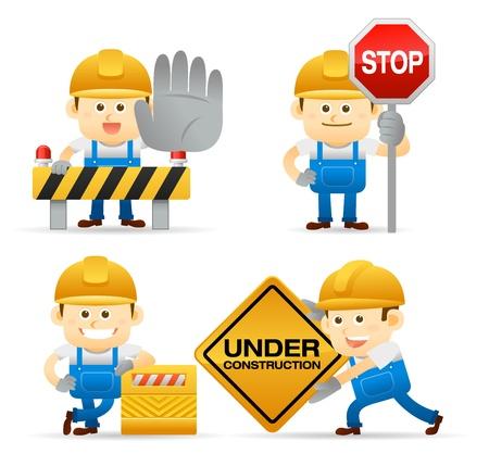 construction management: Operaio set Vettoriali
